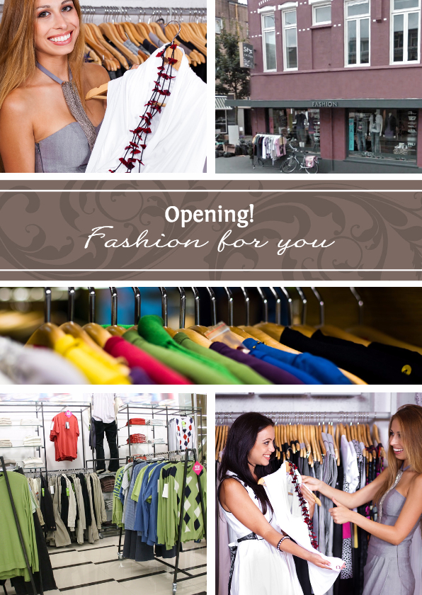 Zakelijke kaarten - Collage Opening 5 foto's - BK