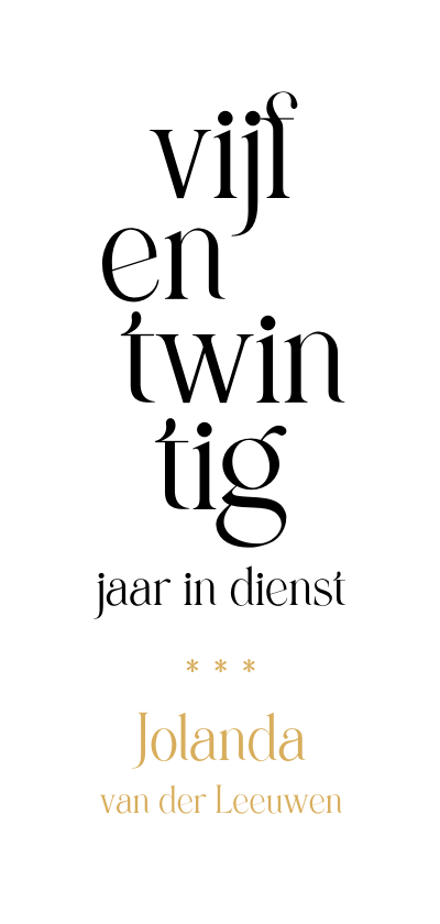 Zakelijke kaarten - Jubileum 25 medewerker typografisch