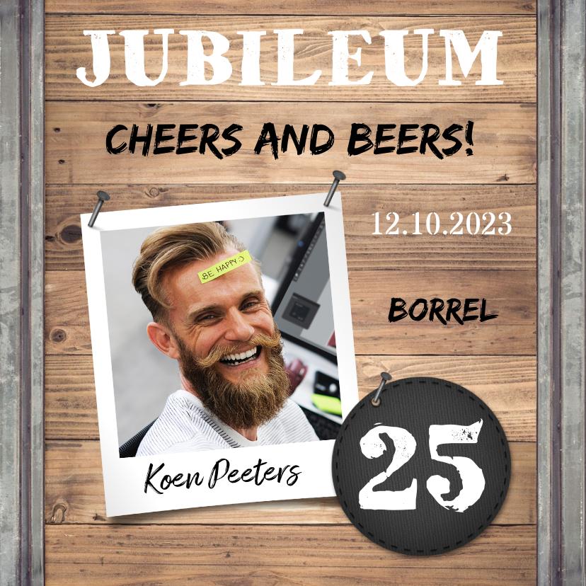 Zakelijke kaarten - Jubileumkaart medewerker industrieel met foto en hout