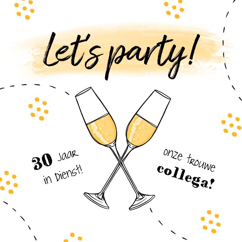 Zakelijke kaarten - Jubileumkaart medewerker x jaar in dienst champagne feest