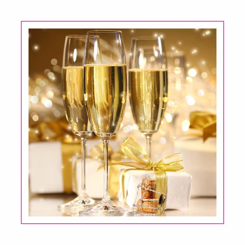 Zakelijke kaarten - Opening kaart met champagne en cadeaus