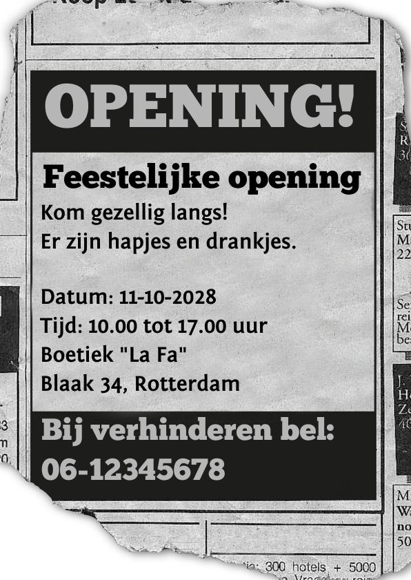 Zakelijke kaarten - Uitnodiging - feestelijke opening advertentie