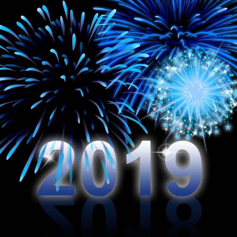 Zakelijke kerstkaarten - 2018 nieuwjaar blauw vuurwerk