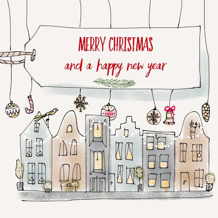 Zakelijke kerstkaarten - Christmas Canal houses