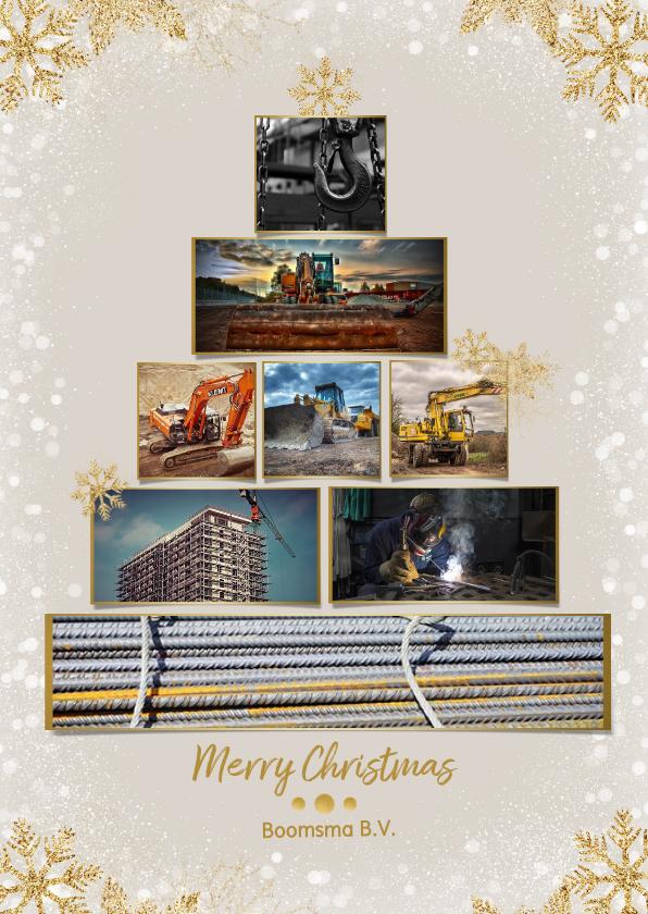 Zakelijke kerstkaarten - Collage zakelijke kerstboom rechthoekig voor 8 foto's