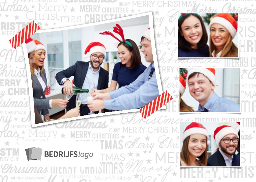 Zakelijke kerstkaarten - Collagekaart wit met logo - BK