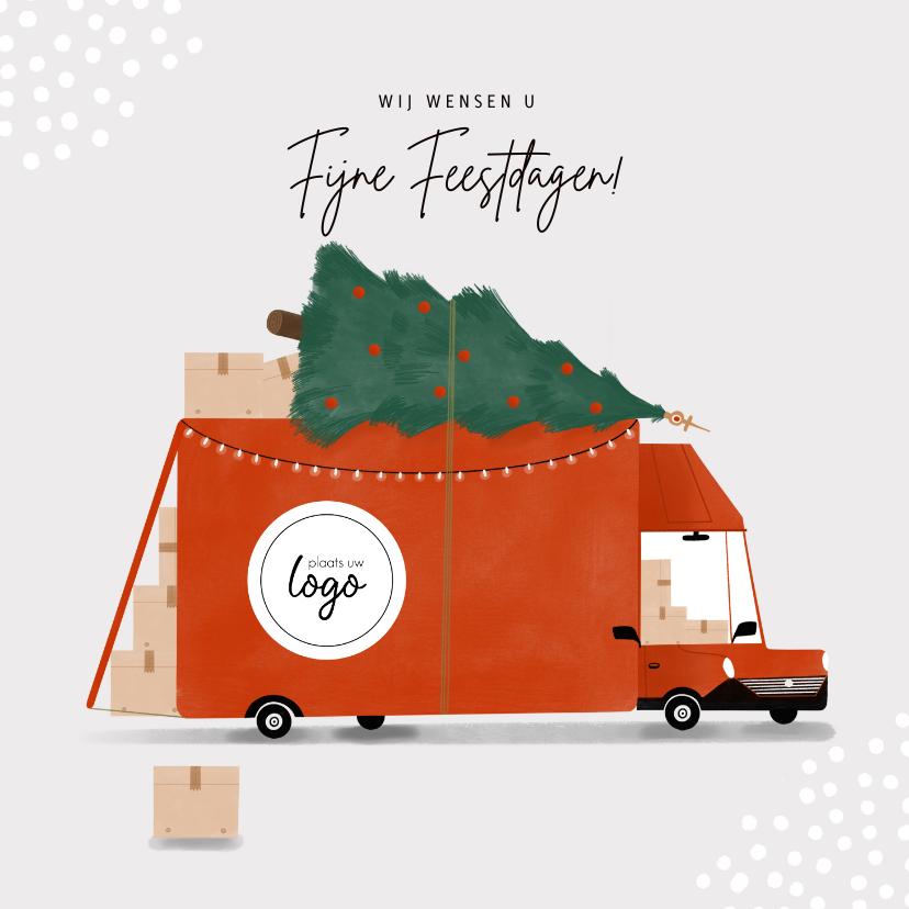 Zakelijke kerstkaarten - Hippe zakelijke kerstkaart transportbedrijf bus kerstboom