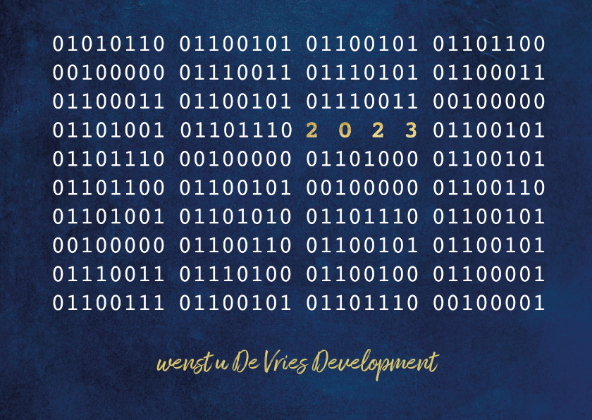 Zakelijke kerstkaarten - ICT Kerstkaart met binaire code en jaartal