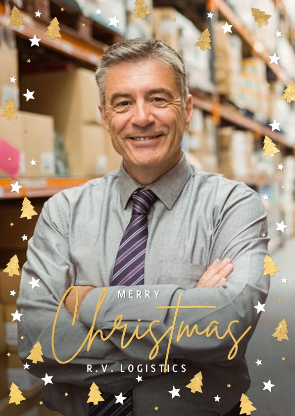 Zakelijke kerstkaarten - Internationale zakelijke kerstkaart met kerstbomen kader
