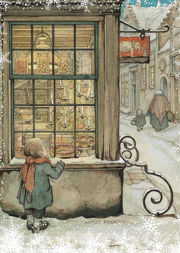 Zakelijke kerstkaarten - Kerkstkaart - Anton Pieck illustratie kindje voor etalage