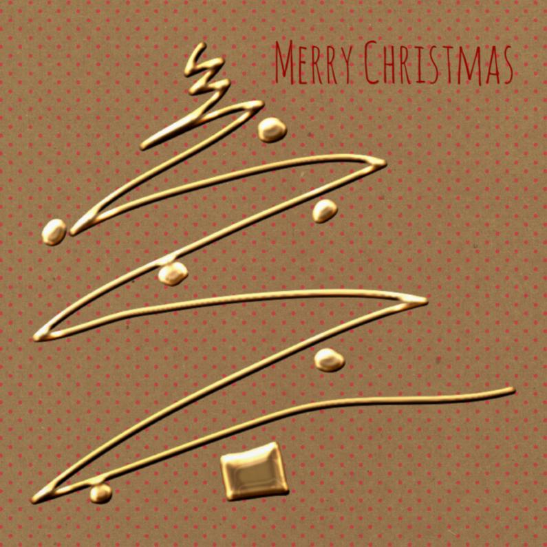 Zakelijke kerstkaarten - Kerst Boom Goud Polkadot - TbJ