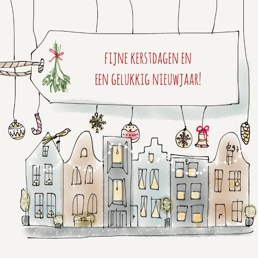 Zakelijke kerstkaarten - Kerst Grachtenpand Kerstbal