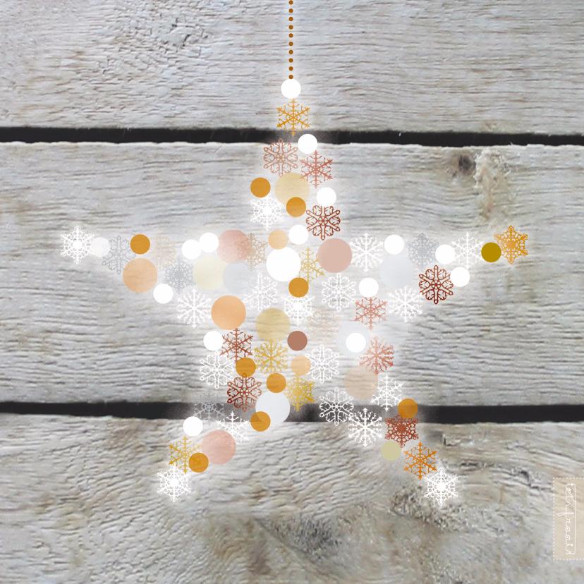 Zakelijke kerstkaarten - Kerst hout ster goud