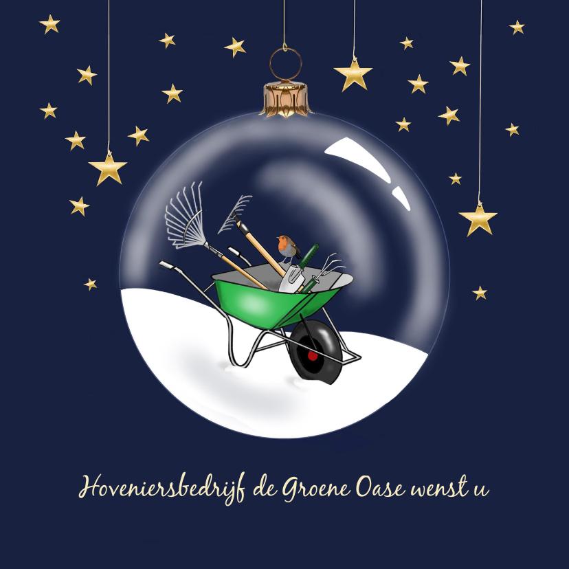 Zakelijke kerstkaarten - Kerst - kruiwagen in kerstbal