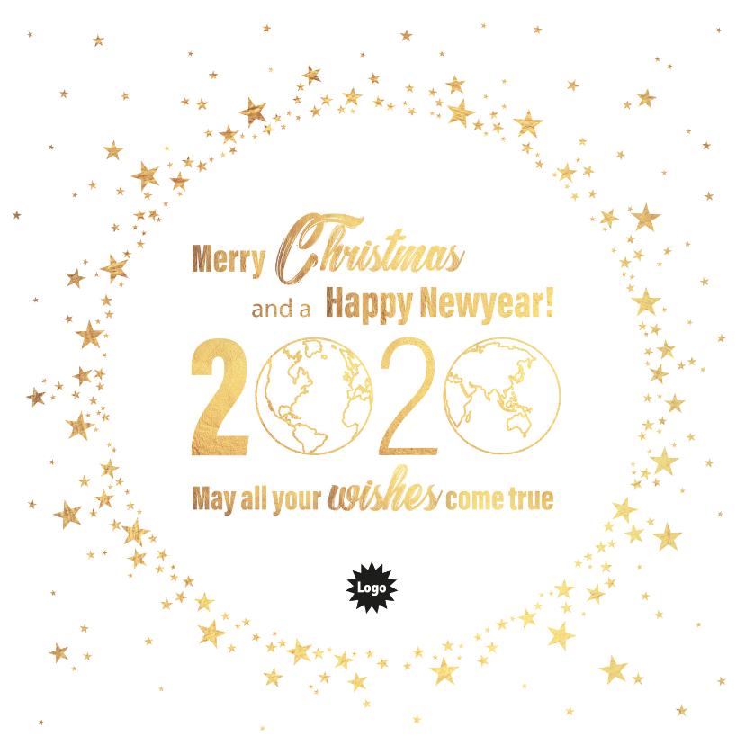 Zakelijke kerstkaarten - Kerst stijlvolle kaart goud wereldbol met sterren 2020