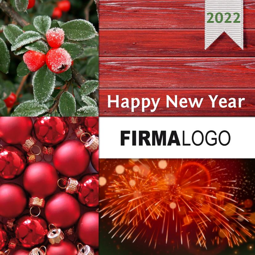 Zakelijke kerstkaarten - Kerst zakelijk vuurwerk rood hout logo