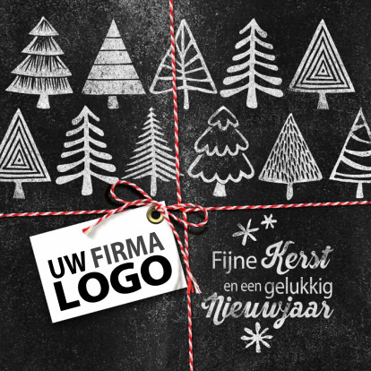 Zakelijke kerstkaarten - Kerstbomen logo krijtbord zakelijke kerstkaart