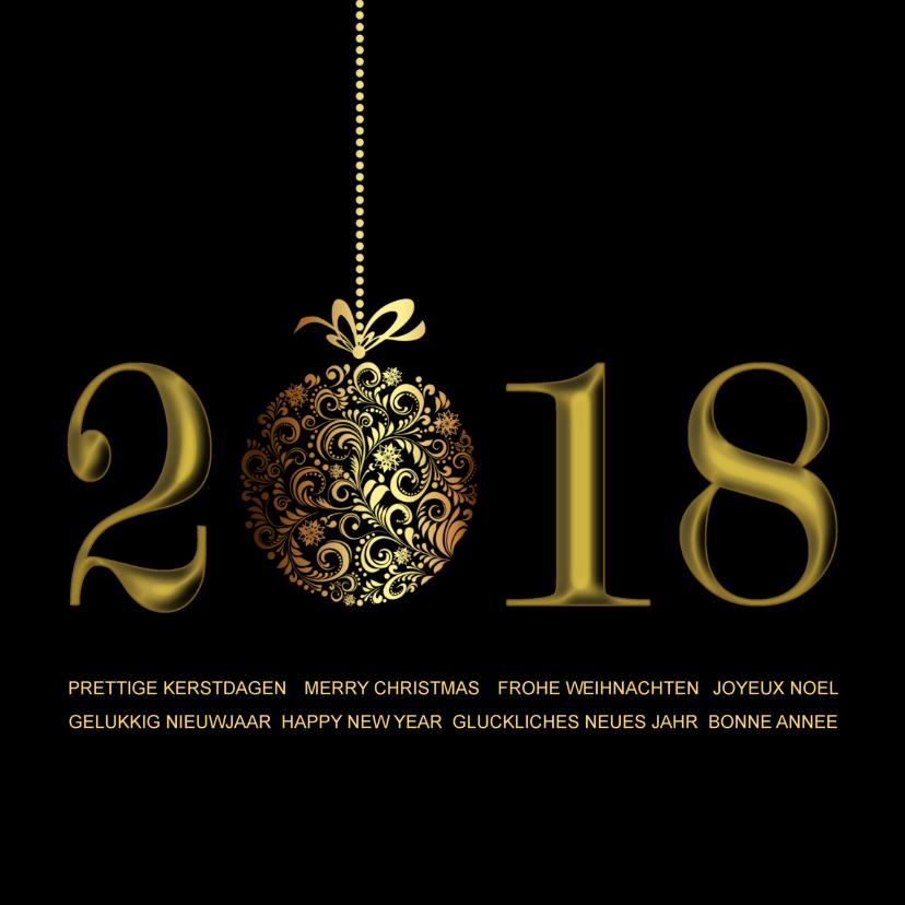 Zakelijke kerstkaarten - Kerstkaart 2018 met goud internationaal