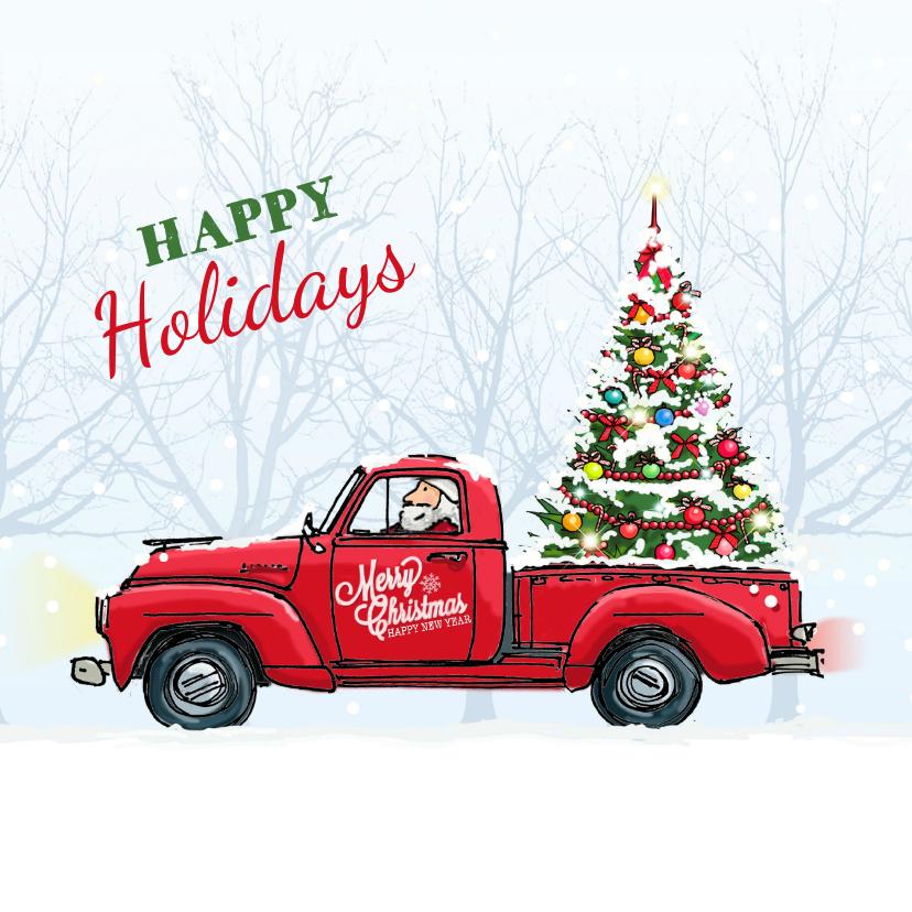 Zakelijke kerstkaarten - Kerstkaart Amerikaanse vrachtwagen
