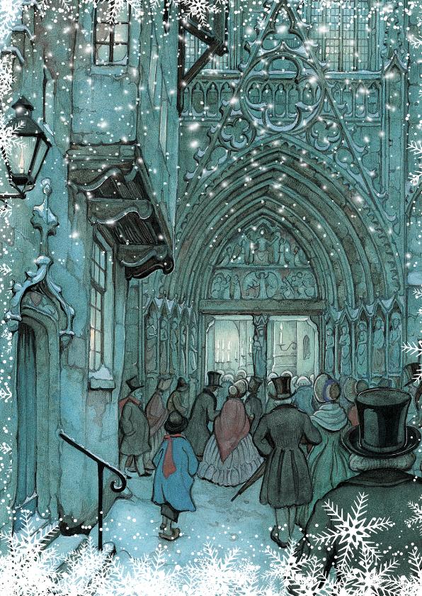 Zakelijke kerstkaarten - Kerstkaart - Anton Pieck illustratie op weg naar de avondmis