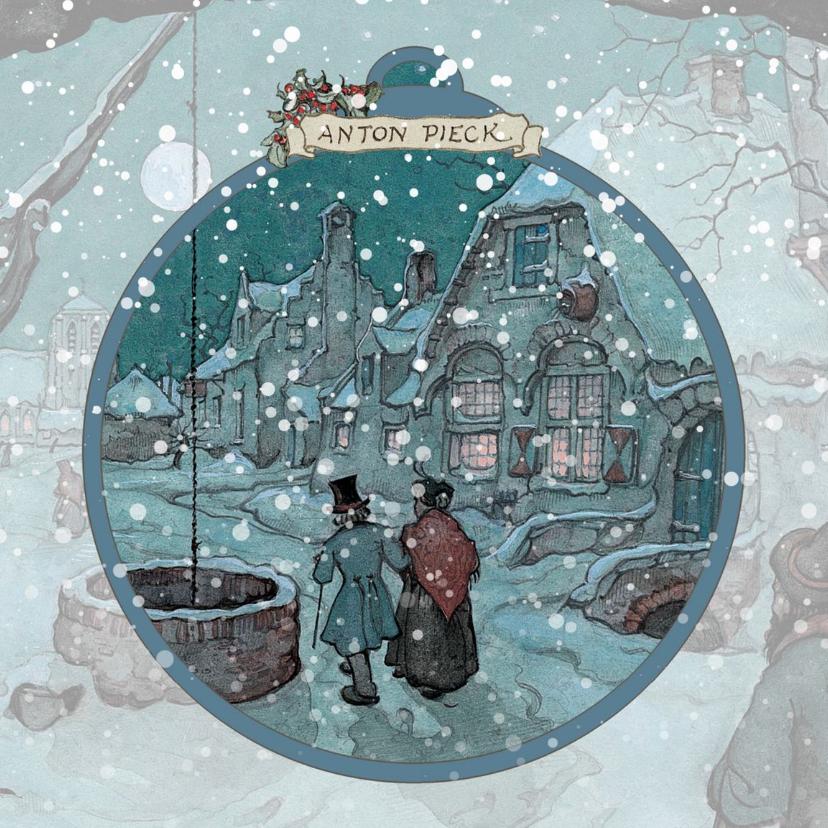 Zakelijke kerstkaarten - Kerstkaart - Anton Pieck koppel in sneeuw in de nacht