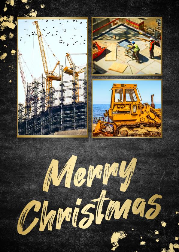 Zakelijke kerstkaarten - Kerstkaart beton 'merry christmas' fotocollage