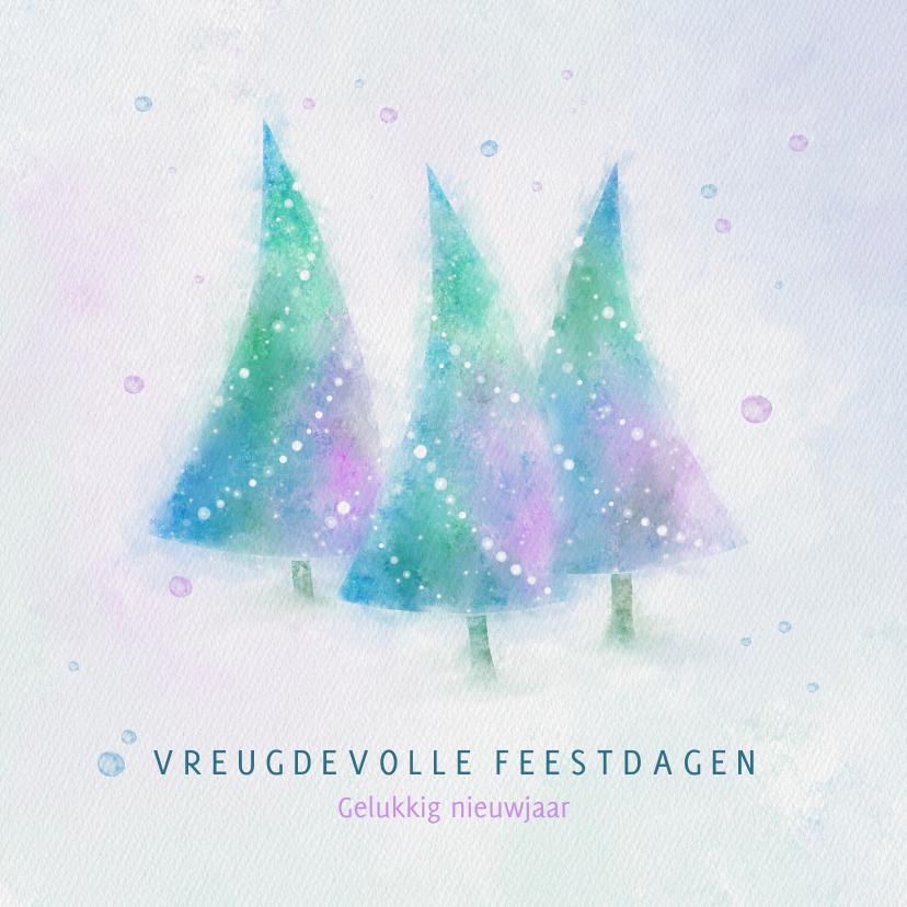 Zakelijke kerstkaarten - Kerstkaart blauw-groen-paars aquarel kerstbomen