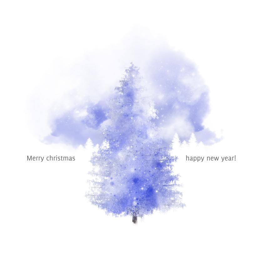 Zakelijke kerstkaarten - Kerstkaart blue forest winter
