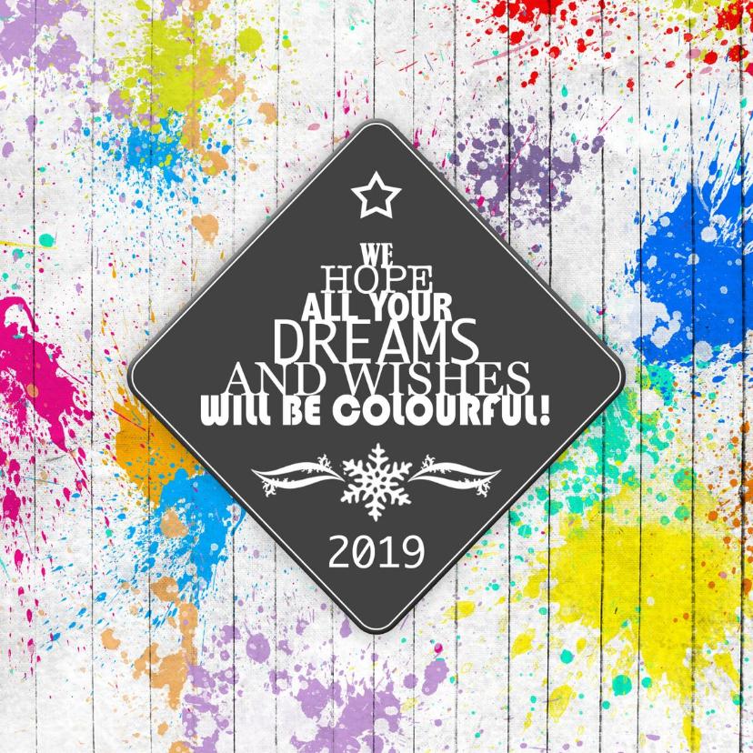 Zakelijke kerstkaarten - Kerstkaart colourful dreams and wishes