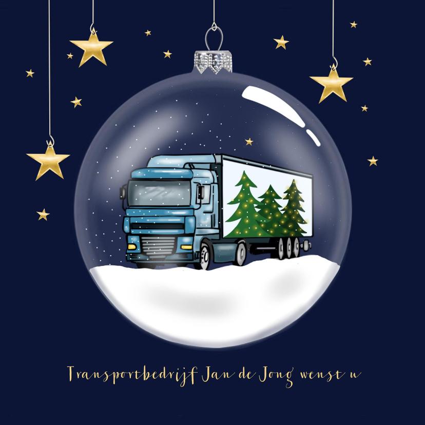 Zakelijke kerstkaarten - Kerstkaart - glazen kerstbal met vrachtwagen