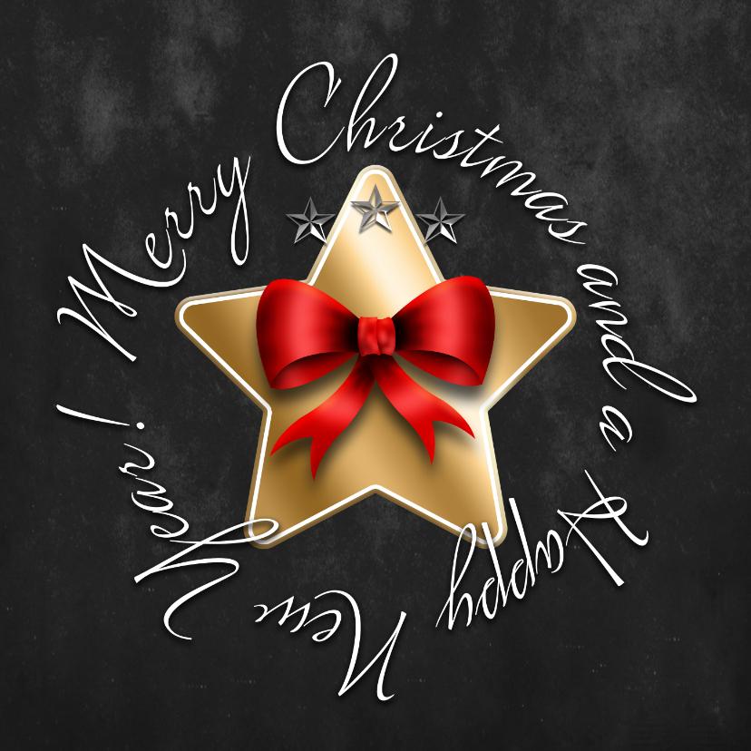 Zakelijke kerstkaarten - Kerstkaart gouden ster en strik
