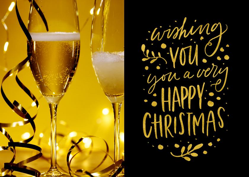 Zakelijke kerstkaarten - Kerstkaart Happy Christmas met champagne