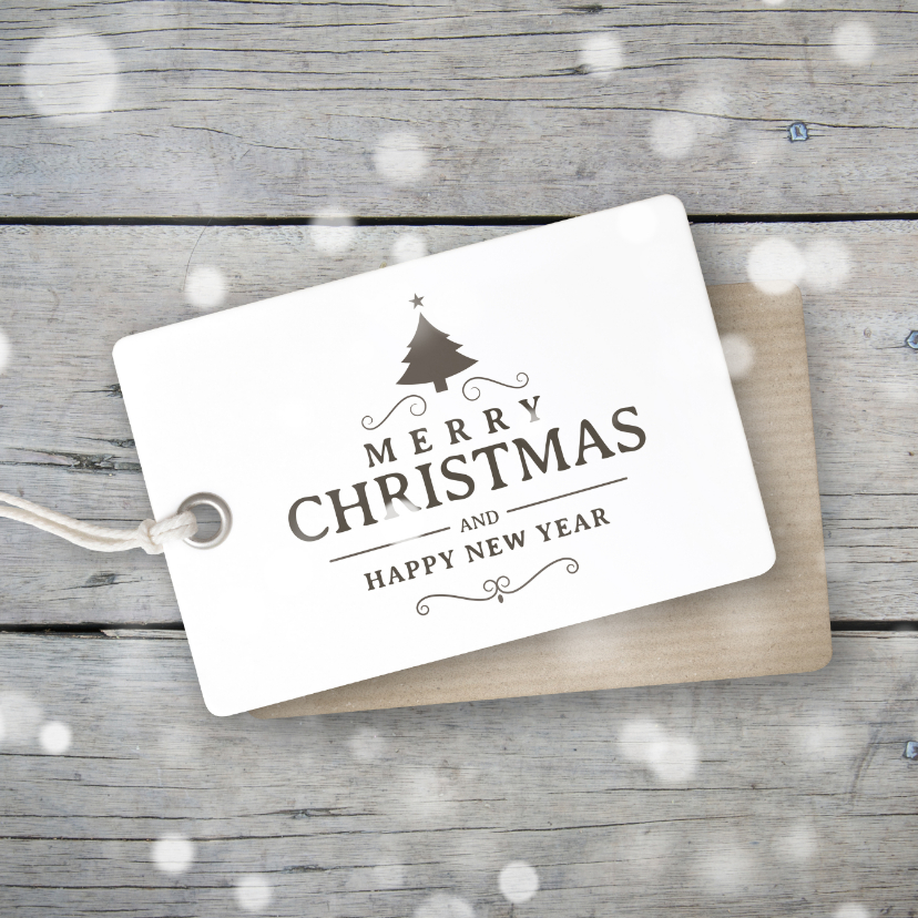 Zakelijke kerstkaarten - Kerstkaart hout label sneeuw