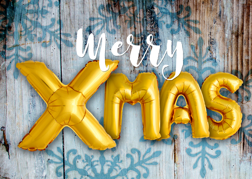 Zakelijke kerstkaarten - Kerstkaart hout xmas 2021 ballonnen goud
