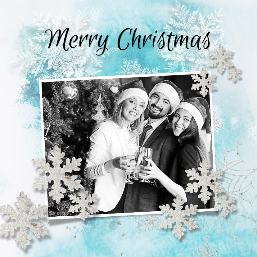 Zakelijke kerstkaarten - Kerstkaart ijsblauw winter eigen foto en logo