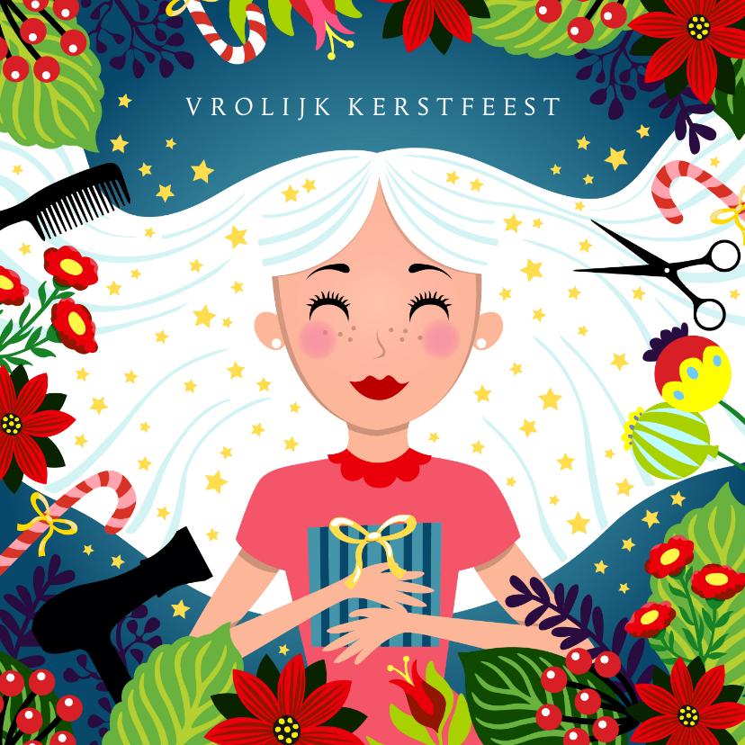 Zakelijke kerstkaarten - Kerstkaart kapper met vrolijke illustratie