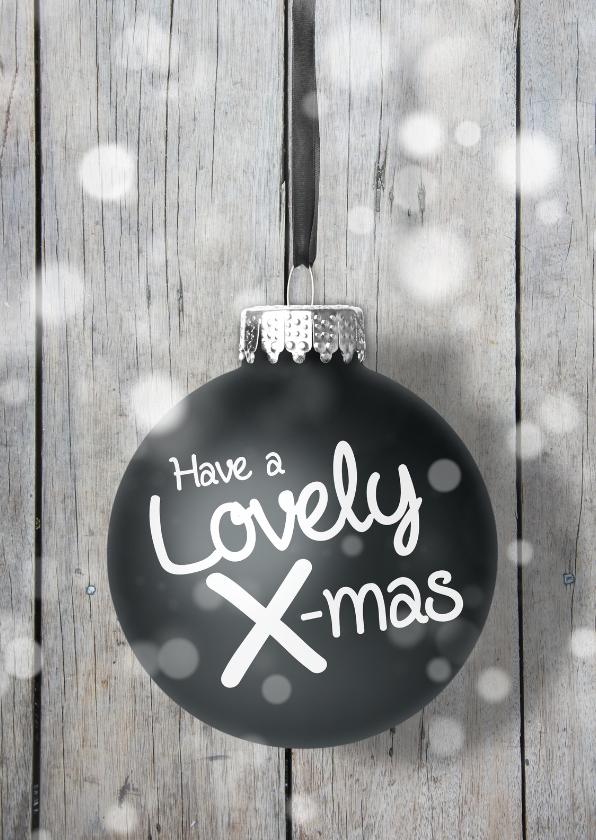 Kerstkaarten - Kerstkaart kerstbal hout zw
