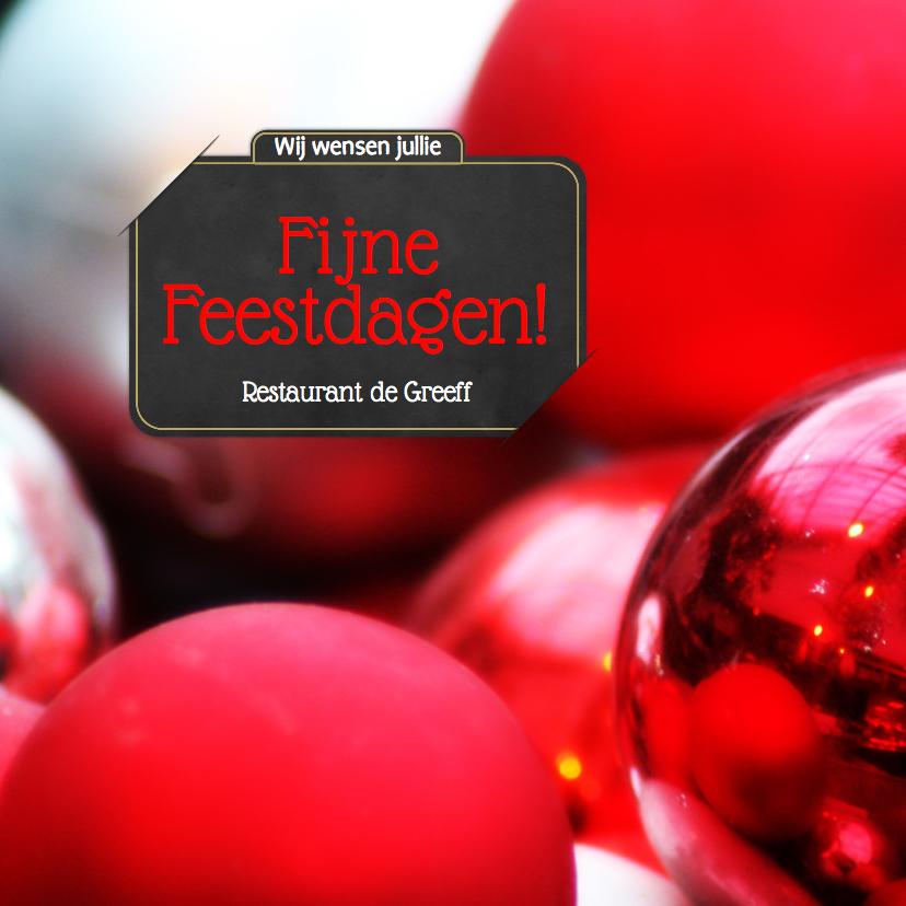 Zakelijke kerstkaarten - Kerstkaart kerstballen bord RB