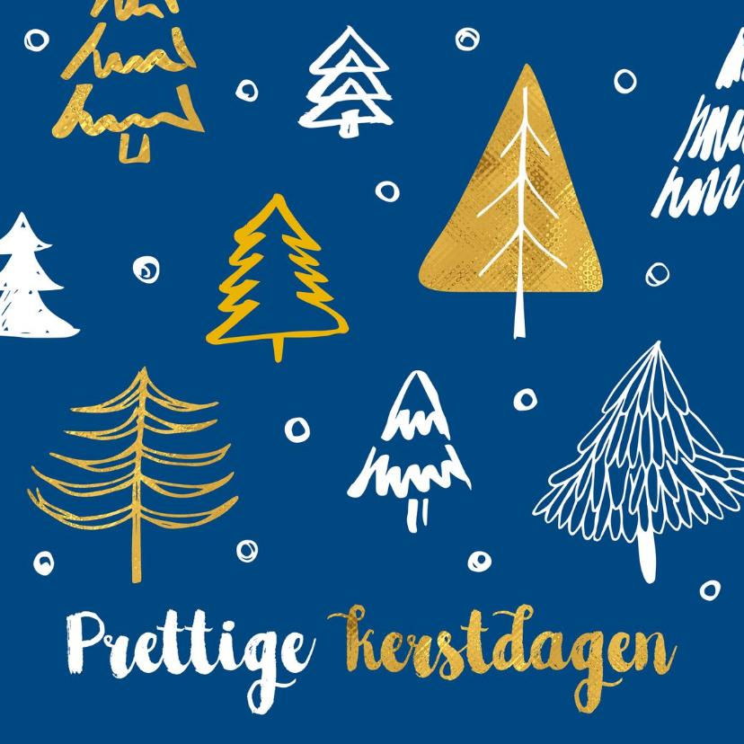 Zakelijke kerstkaarten - Kerstkaart kerstbomen blauw en goud
