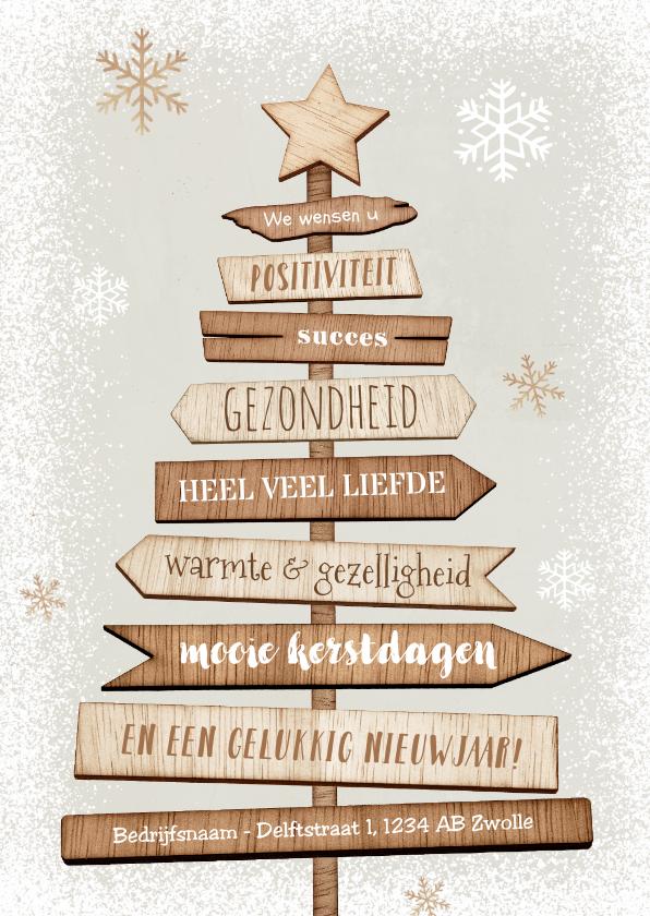 Zakelijke kerstkaarten - Kerstkaart kerstboom hout industrieel ster sneeuw positief