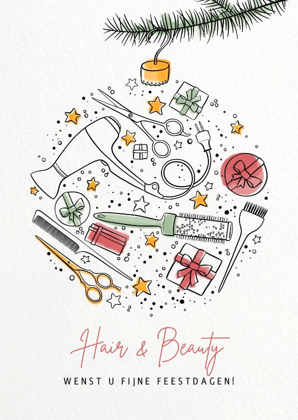 Zakelijke kerstkaarten - Kerstkaart klanten kapper illustratie kerstbal