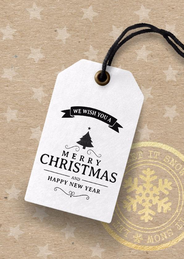 Zakelijke kerstkaarten - Kerstkaart label kraftpapier