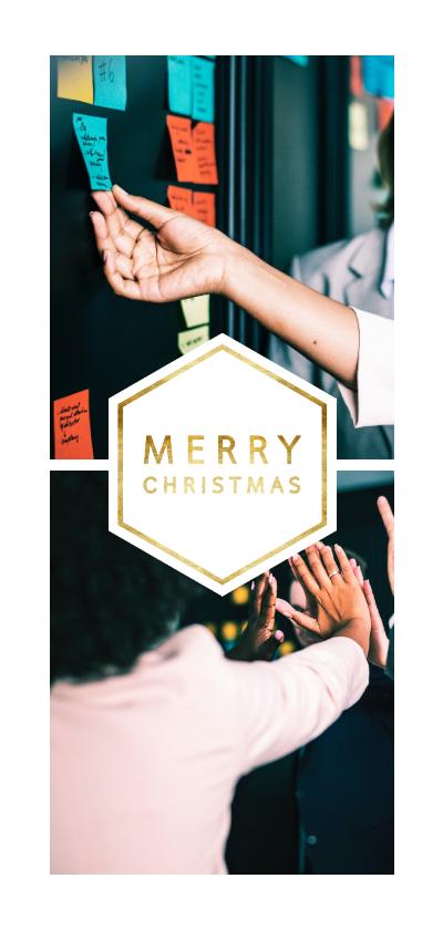 Zakelijke kerstkaarten - Kerstkaart 'Merry Christmas' met 2 foto's langwerpig