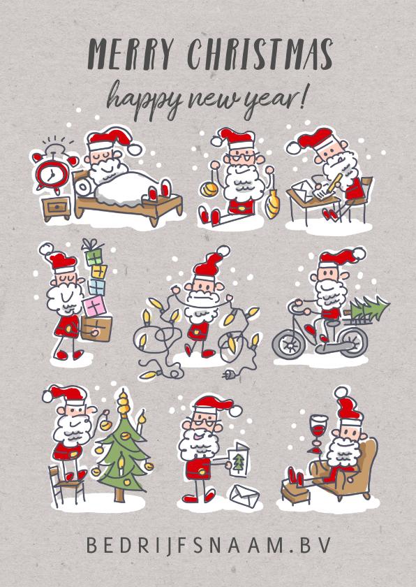 Zakelijke kerstkaarten - Kerstkaart met 9 kerstmannetjes met kerstspullen