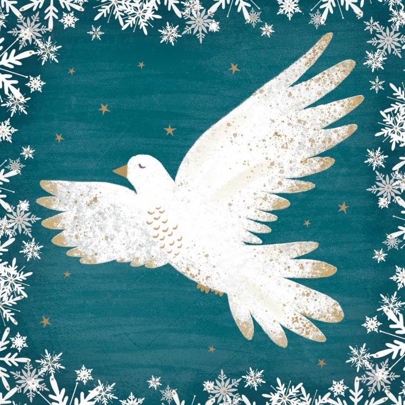 Zakelijke kerstkaarten - Kerstkaart met een vredesduif, turquoise achtergrond.