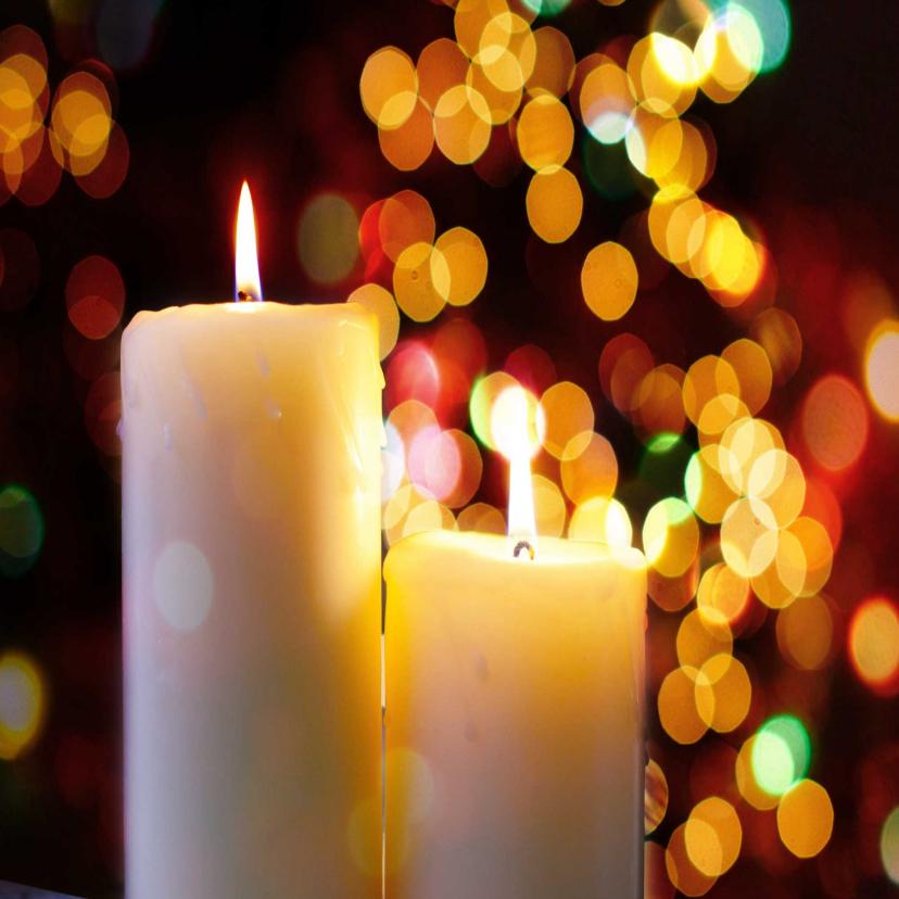 Zakelijke kerstkaarten - Kerstkaart met twee brandende kaarsen