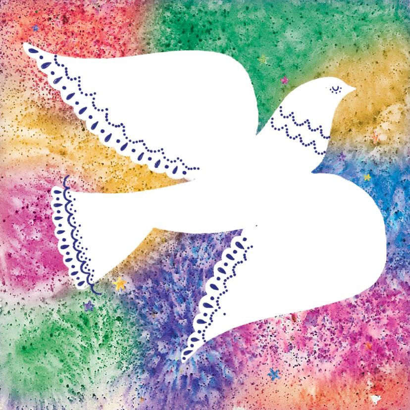 Zakelijke kerstkaarten - Kerstkaart met Vredesduif , kleurrijke achtergrond