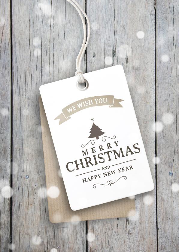 Zakelijke kerstkaarten - Kerstkaart modern hout label