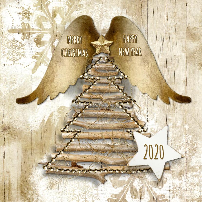 Zakelijke kerstkaarten - Kerstkaart natural hout engel 2019