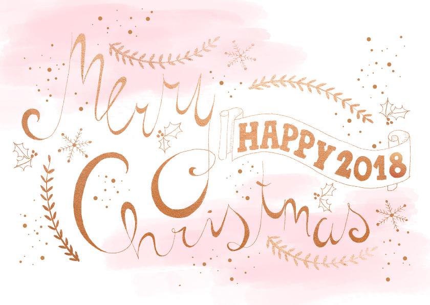Zakelijke kerstkaarten - Kerstkaart rosegold tekst